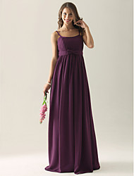 Floor-length Chiffon Bridesmaid Dress - Grape Plus Sizes / Petite A-line / Princess / Sheath/Column Spaghetti Straps