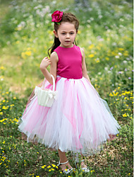 Ball Gown Tea-length Flower Girl Dress - Satin / Tulle Sleeveless Jewel with Flower(s)