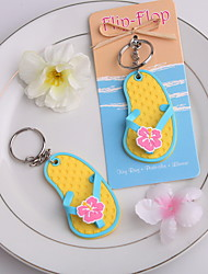 Beach Theme Flip-Flop Plastic Key Ring
