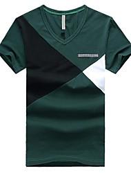 Herren T-shirt-Einfarbig Freizeit Baumwolle Kurz-Blau / Grün / Rot / Gelb