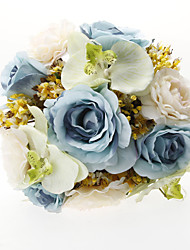 "Wedding Flowers Round Roses Bouquets Wedding Party/ Evening Satin Silk Tulle Blue 9.84""(Approx.25cm)"