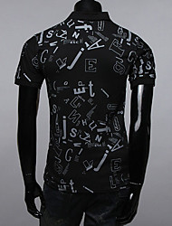 INMUR Men's Floral Print Polo Black T-shirt
