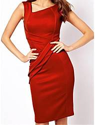 Women's Ruffled Bodycon Slim Knee-length Dress