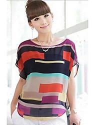 Damenmode Chiffon Streifen Kurzarm T-Shirt