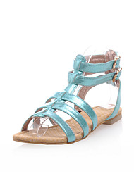 Women's Shoes Leatherette Flat Heel Peep Toe/Gladiator/Comfort/Round Toe Sandals Outdoor/Dress/Casual Blue/Pink/Red/Gold