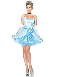 Edle Cinderella Sky Blue Polyester Frauen-Halloween-Kostüm