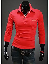 Debe Men's Lapel Neck Long Sleeve  T-Shirt