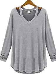kvinnors fast vit / svart / grå t-shirt, casual / arbets v hals lång ärm