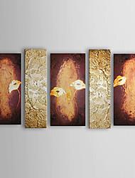 Hand bemalt floralen Ölgemälde mit gestreckten Rahmen - von 5 gesetzt