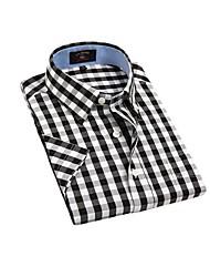 Casual Noir Blanc Couvertures de U-hommes de requin Vérifie 100% coton T-shirt manches courtes Blouse Top EOZY DSX-002