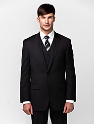 Suits Tailored Fit Slim Peak Single Breasted Two-buttons 3 Pieces Black Straight Flapped None (Flat Front) None (Flat Front)