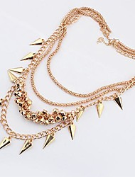 Women's E*aggerated Fashion Button Metal Multilayer Sweater Chain