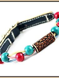 Zafiro Moda Cuero genuino perlas Collares de mascotas Los perros (tamaños surtidos)