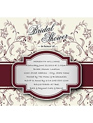 Personalized Ivory Floral Bridal Shower Cards - Set of 12