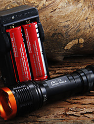 1set 1800lm Tactical Zoomable CREE XM-L T6 LED 18650 Lanterna Tocha Zoom Lamp Light + 2 x 18650 Battery + Charger