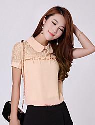HeMaLiSha Frauen Puppe Kragen-Spitze Splice Short Sleeve Chiffon-Shirt (Pink)