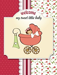 Personalized Little Girl in Pram Double Side Baby Shower Cards - Set of 12