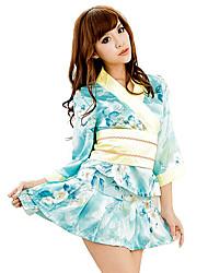 Sexy Japanese Girl Sky Blue Polyester Kimono Frauen Ethnische Kostüm