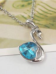 Mengguang Women's Austria Crystal  Swan Heart Pattern Necklace