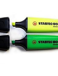 Yellow Green Ink Pen Fluorescent Highlighter Marker (Gelb / Grün ,2-Pack)