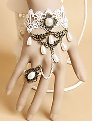 Handmade Charming Vintage Royal White Lace Sweet Lolita Bracelet with Ring