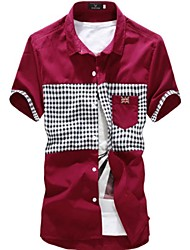 Men's lapel Check Contrast Color Short Sleeve Shirt