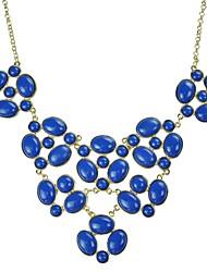 JANE STONE Royal Blue Fashion Goldblumenhalskette