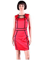 ML Plus Size Nouvelle européen de femmes de mode noir et robe blanche moulante Patchwork Mini Star Party Dress 9066