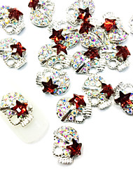 10PCS crânio de forma Zircon enchido diamante Art Nail liga Decoração