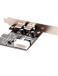 SuperSpeed USB 3.0 PCI Express (x1) (2x Ext) with Molex Connector and Low Profile bracket (Chipset:NEC720202)