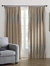 neoclássicos dois painéis listra cáqui cortinas de painel de poliéster quarto cortinas