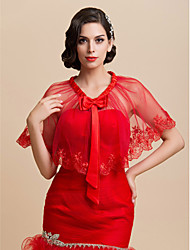 Wedding  Wraps Capelets Organza Ruby Wedding / Party/Evening Pullover