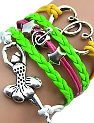 shixin® europeu menina dança pulseira de couro wrap multicolor 18 centímetros das mulheres (1 pc)