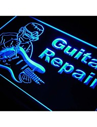 m023 Guitar Repairs Service Instrument Shop Neon Sign
