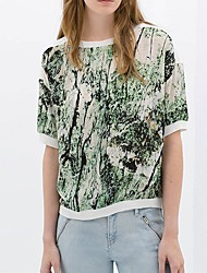 Qianyijia Women's Floral Print Short Sleeve Round Neck Chiffon Green Blouse
