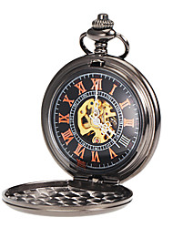Men's Mechanical Simple Black Alloy Pocket Watch Cool Watch Unique Watch