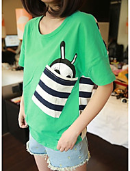 Women's Casual/Daily Simple / Street chic Spring / Summer T-shirt,Print Round Neck Short Sleeve White / Green Others Medium