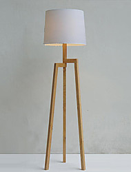 Wooden Tripod Floor Lamp with Fabric Shade