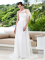 Lan Ting Sheath/Column Plus Sizes Wedding Dress - Ivory Sweep/Brush Train One Shoulder Tulle/Lace