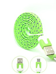 100cm High Speed Quality  Colorful Nylon Woven Flat  Micro USB Charging Cable for Samsung Galaxy S3/S4