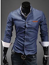Shirt Design manica lunga coreano Pocket Lotta pelle da uomo Duolunduo (blu)
