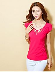 Women's Casual/Daily Simple Spring / Summer / Fall Blouse,Solid Short Sleeve Blue / Red / White / Yellow Thin