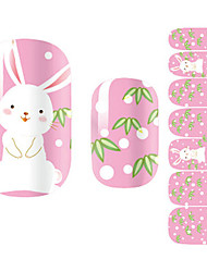 Art 28PCS blanc Cartoon Design Lapin Nail Stickers
