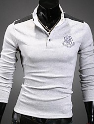 Men's Long Sleeve Polo , Cotton Blend Casual/Sport Pure