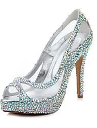 Women's Shoes  Peep Toe Platform Sheer & Rhinestone Combination Stiletto