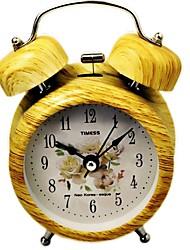 "Timess™ 3""H Bell Night-light Imitation Wood Grain Coating Mute Alarm Clock"