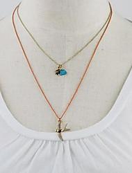 Women's Gold Tone Bird Pendant Double Layer Necklace