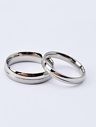 Fashion Silver Titanium Steel Thin Couple Rings