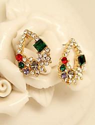 Урожай Ювелирные Красочные Позолоченные капель воды серьги с бриллиантами шпильки для женщин