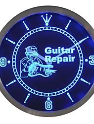 nc0439 Guitare Service de réparation Neon Cadeau Inscrivez Horloge murale LED